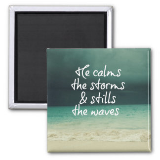 Ocean Storm with God Quote 2 Inch Square Magnet