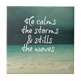 Ocean Storm with God Quote Ceramic Tile