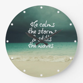 Ocean Storm with God Quote Large Clock