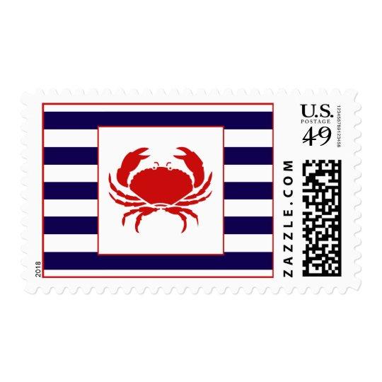 Ocean Stripes - Crab Postage