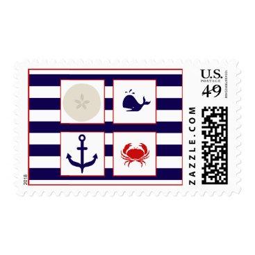 Beach Themed Ocean Stripes - Whale Crab Sand Dollar, Anchor Postage