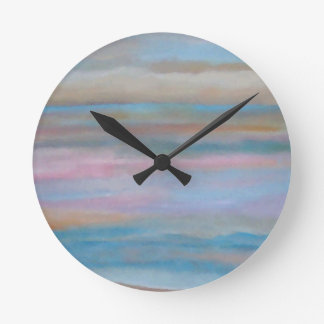 Ocean Summer Breeze Sunset Soft Pastels Round Clock