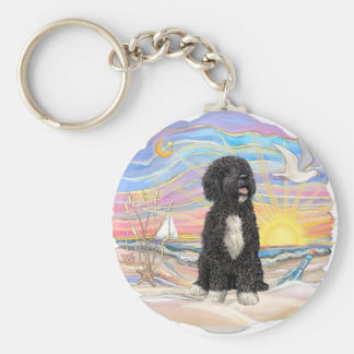 Ocean Sunrise-Portuguese Water Dog (bw5) Keychain