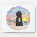 Ocean Sunrise-Portuguese Water Dog (bw5) Mouse Pad