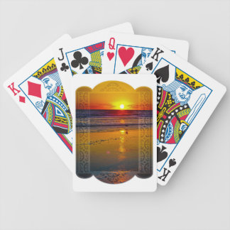 Ocean Sunrise Reflected on Beach Framed Art Design Bicycle Playing Cards