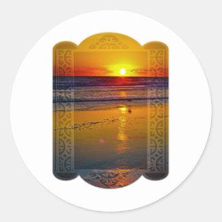Ocean Sunrise Reflected on Beach Framed Art Design Classic Round Sticker