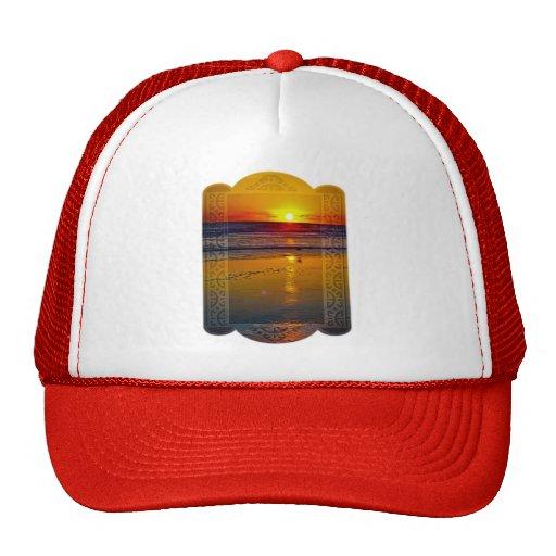 Ocean Sunrise Reflected on Beach Framed Art Design Hats