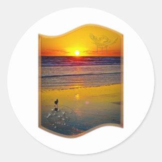 Ocean Sunrise Reflected on Beach Indian Brave Art Classic Round Sticker