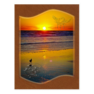 Ocean Sunrise Reflected on Beach Indian Brave Art Postcard