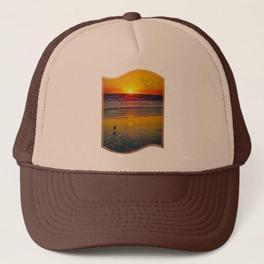 Ocean Sunrise Reflected on Beach Indian Brave Art Trucker Hat