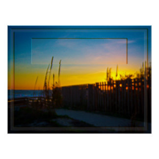 Ocean Sunrise Through Wooden Fence And Sea Oats Poster