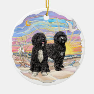 Ocean Sunrise - Two Portuguese Water Dogs Christmas Tree Ornaments