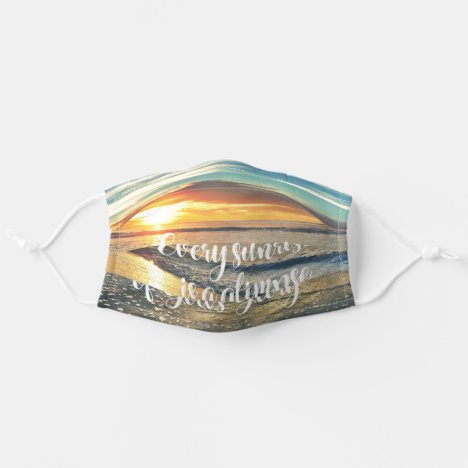 Ocean Sunrise with Faith Quote Adult Cloth Face Mask