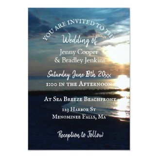 Ocean Sunset at Dusk Wedding Invitation