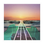 Ocean Sunset Beach Bass Art Wrapped Canvas Stretched Canvas Prints