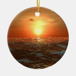 Ocean Sunset Ceramic Ornament