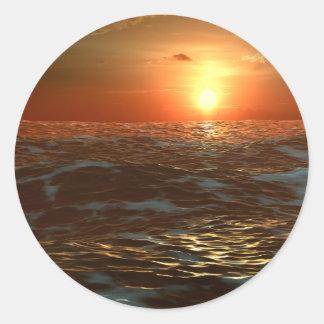 Ocean Sunset Classic Round Sticker