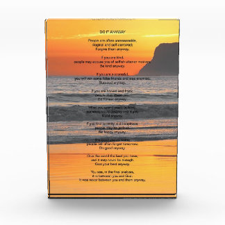 Ocean Sunset Do It Anyway Acrylic Award