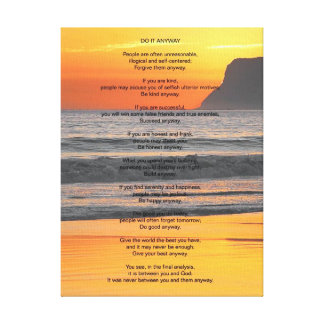 """Ocean Sunset """"Do It Anyway"""" Gallery Wrap Canvas"""