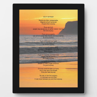 """Ocean Sunset """"Do It Anyway"""" Plaque"""