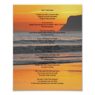 """Ocean Sunset """"Do It Anyway"""" Poster"""
