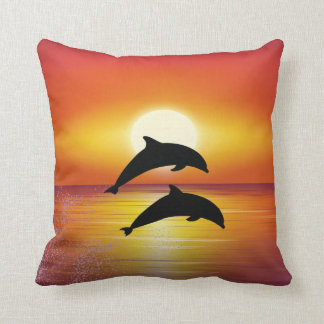 Ocean Sunset Dolphins Couple Playing Love Throw Pillow