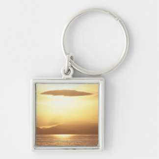 Ocean sunset Silver-Colored square keychain