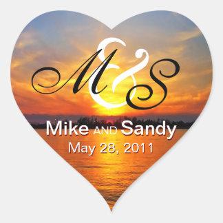 Ocean Sunset Monogram Destination Wedding Heart Sticker