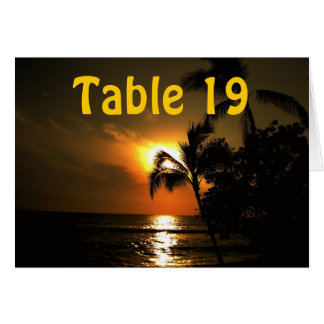 Ocean Sunset Numbered Table Greeting Card