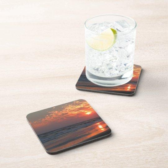 Ocean Sunset - Oak Island, NC Beverage Coaster