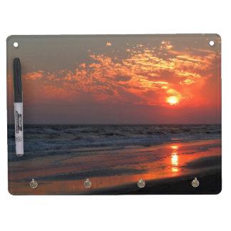 Ocean Sunset - Oak Island, NC Dry Erase Board With Keychain Holder