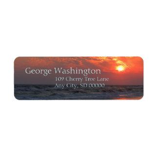 Ocean Sunset - Oak Island, NC Custom Return Address Label