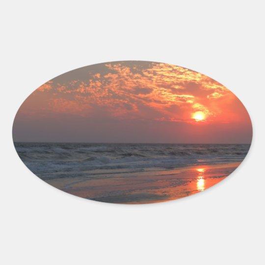 Ocean Sunset - Oak Island, NC Oval Sticker