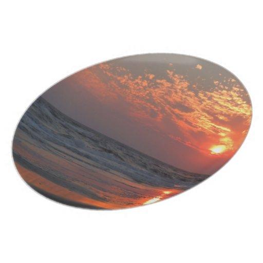 Ocean Sunset - Oak Island, NC Plates