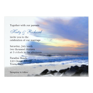 Ocean Sunset on the Beach Wedding Invitations