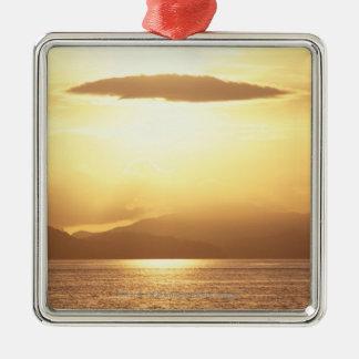 Ocean sunset square metal christmas ornament