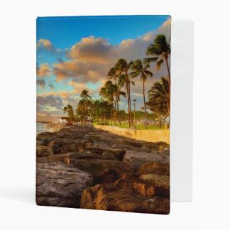 Ocean Sunset Over Rocks And Palm | O'Ahu Mini Binder