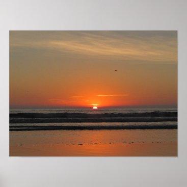 Beach Themed Ocean Sunset Poster