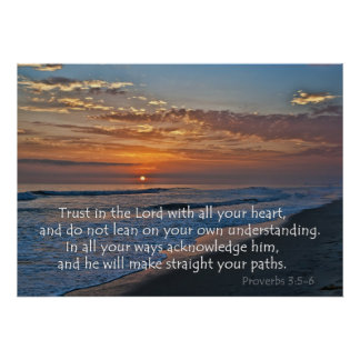 Ocean Sunset Proverbs 3:5-6 Poster
