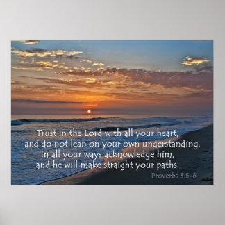 Ocean Sunset Proverbs 3:5-6 Poster