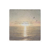 Ocean sunset quote stone magnet
