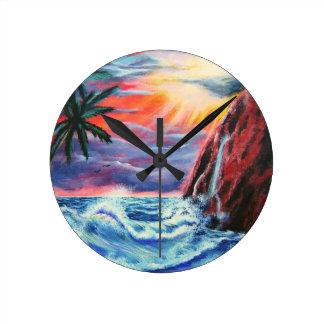 Ocean Sunset Round Clock