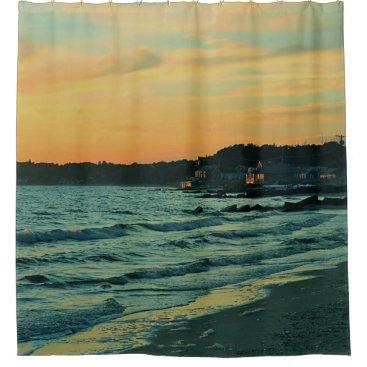 Ocean sunset shower curtain