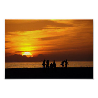 Ocean sunset silhouettes Poster