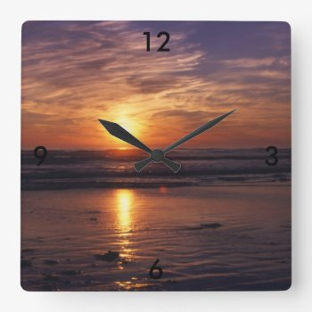 Ocean Sunset Square Wall Clock by Artnmore at Zazzle