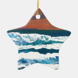 Ocean Sunset Waves Christmas Tree Ornaments
