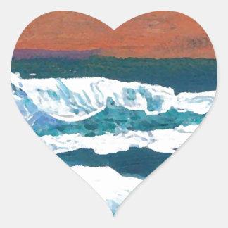 Ocean Sunset Waves Heart Stickers