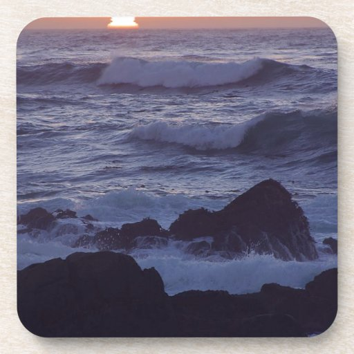 OCEAN SUNSET WAVES TRANQUIL BEAUTY NATURE EARTH SU DRINK COASTERS