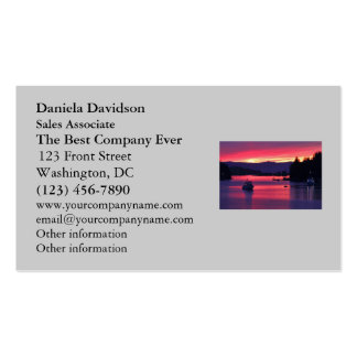 Ocean Sunset with Boats in Harbor Business Card