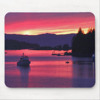 Ocean Sunset with Boats in Harbor Mouse Pad